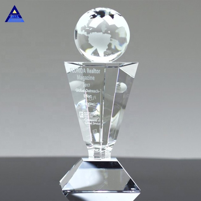 Popular Custom Crystal Globe Trophy With World Map