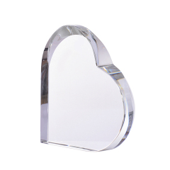 Crystal Ornaments Heart Shaped 3D Laser Engraving Wedding Gifts Clear Glass Paperweight