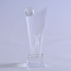 Unique Custom Crystal Glass Golf Trophy Designs For Golf Tournament Awards