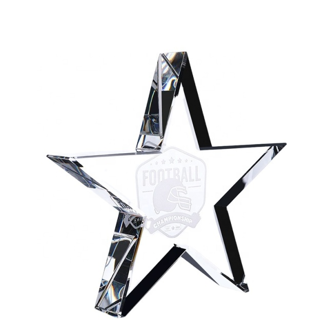 High Quality Paperweight Crystal Blank Block Star Awards Crystal Glass Trophy