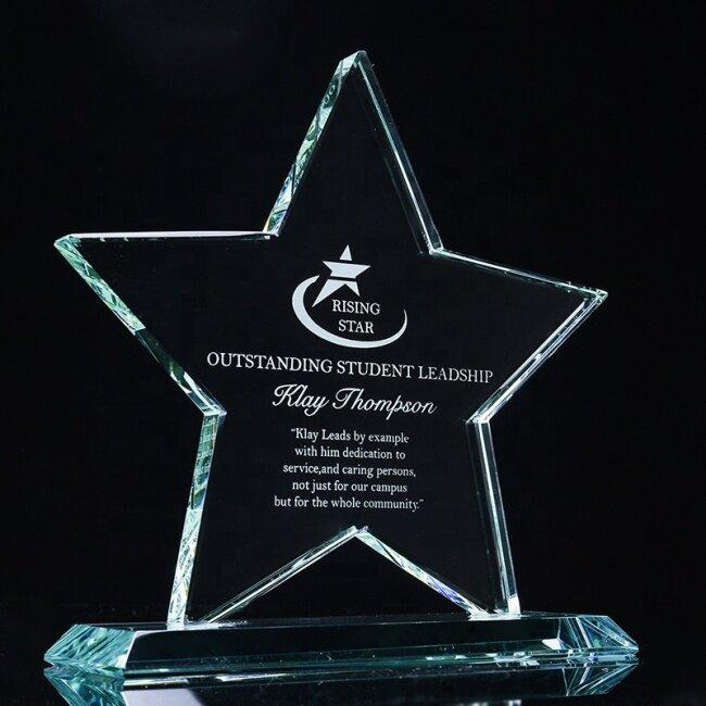 Customized Souvenir Craft K9 Crystal Trophy Award Engrave Star Glass Trophies