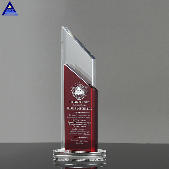 Customize New Design Wholesale Ruby Crystal Award Trophy For Promotion