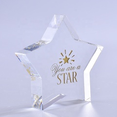 Fashion Wholesale Customized Clear Star Shaped Crystal Paperweight For Desk Decoration