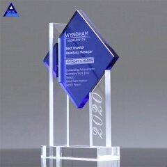 2019 New Design Custom Shining Blue Crystal Trophy From Yiwu