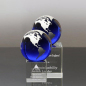 Glass World Stand On Engraved Cube Base Optical Paperweight Earth Blue Crystal Globe