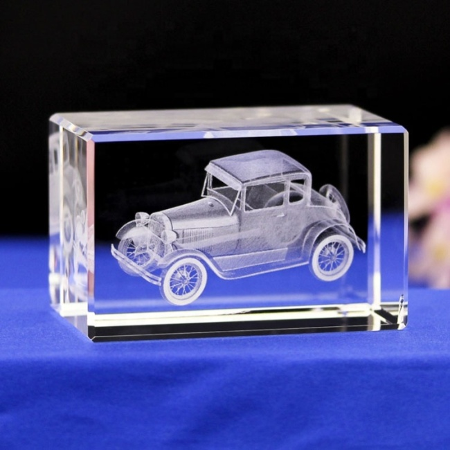 3D Laser Engraved Blank Small Antique Private Car Glass Cube Block Crystal Car Model