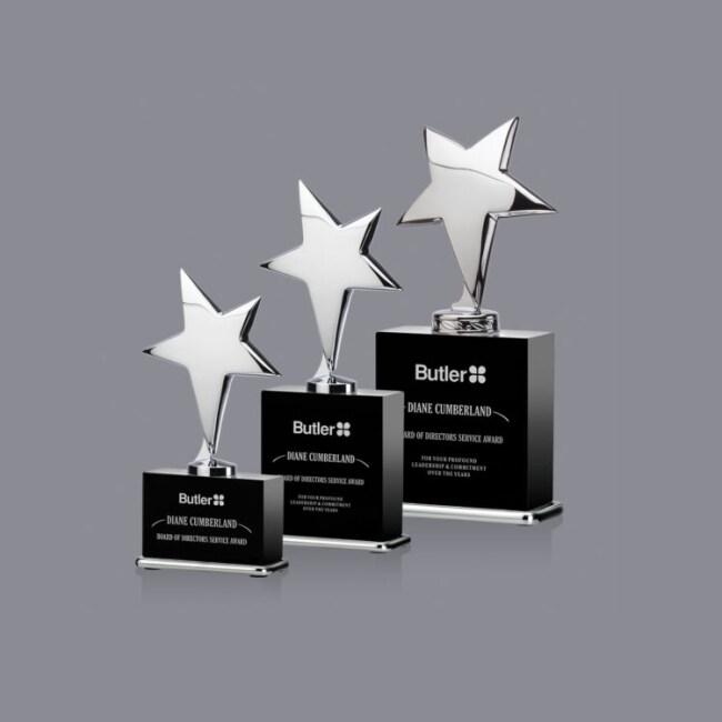 Metal Pentagram Crystal Trophy Awards New Design crystal awards and trophies
