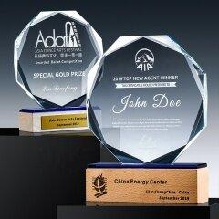 hot sales blank glass Octagon award for gift/glass trophy K9 Crystal awards/Crystal Glass Trophy Wooden Award Plaque Art Craft