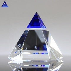 High Quality 3D Laser Blue Majestic Crystal Pyramid Trophy With Best Price