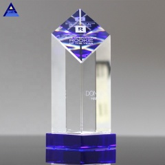 Handmade K9 Crystal Encore Blue Crystal Awards For Employees