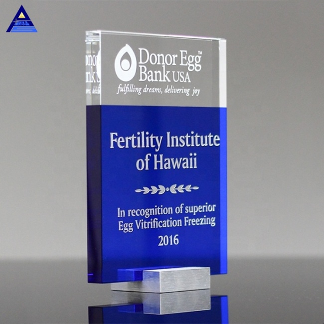 Blue Rectangle Crystal Glass Simplex Block Award Trophy with 3D Lasered Customized Logo