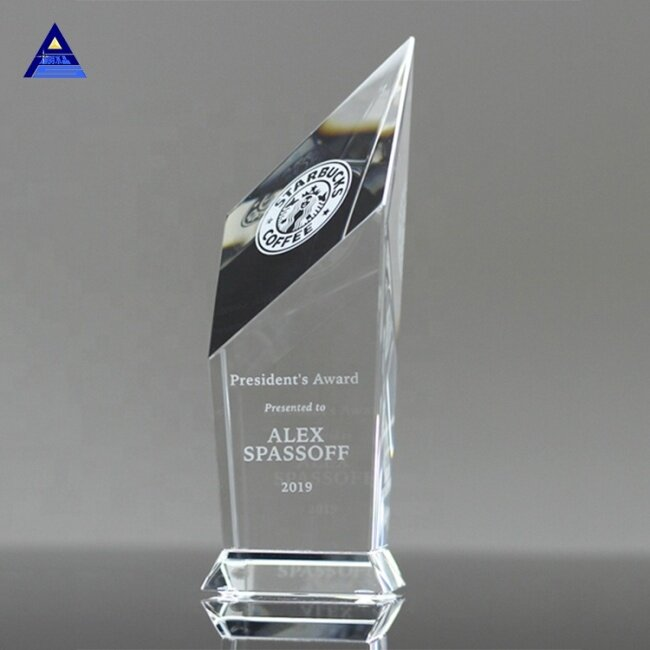 Elegant Clear Obelisk Shape Luxury Crystal Glass Award Trophy Crystal Shield Gift For Competition Awards