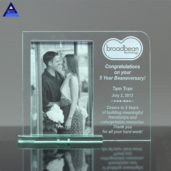 Sublimation Fancy Mainliner Glass Crystal Photo Frame Trophy For Wedding Gift