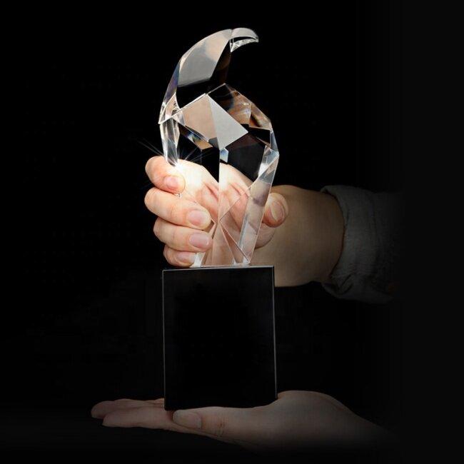 Best k9 Crystal Material Eagle Black Crystal Base Eagle Crystal Award Trophy