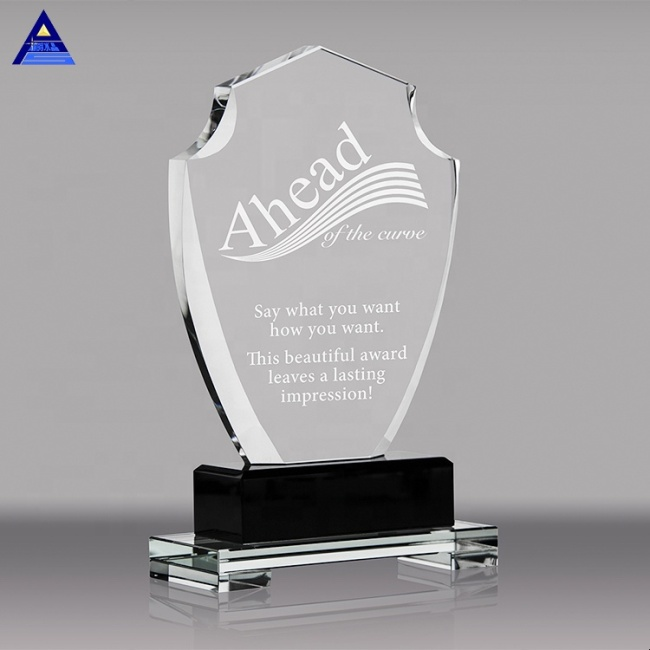 New Design Cheap Custom Logo Clear Crystal Glass Award Plaque For Engraving Laser