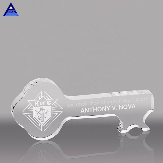 Cheap Customized 3D Laser Key Shape Crystal Paperweight For Wedding Guests Gifts