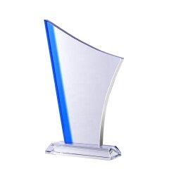 Custom Logo Color Sublimation Clear Blank Crystal Trophy Award Souvenir With Base