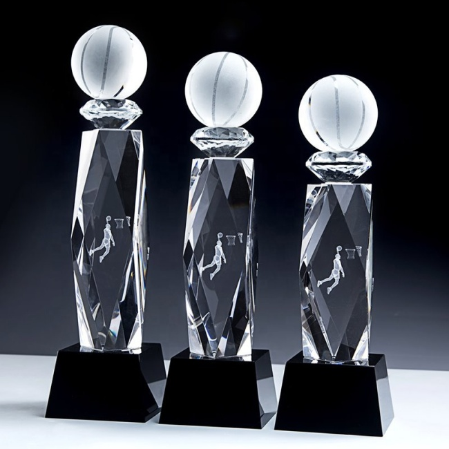 FS New Clear Business Wedding Gift Basketball Sport Awards Customize Crystal Sports Trophy