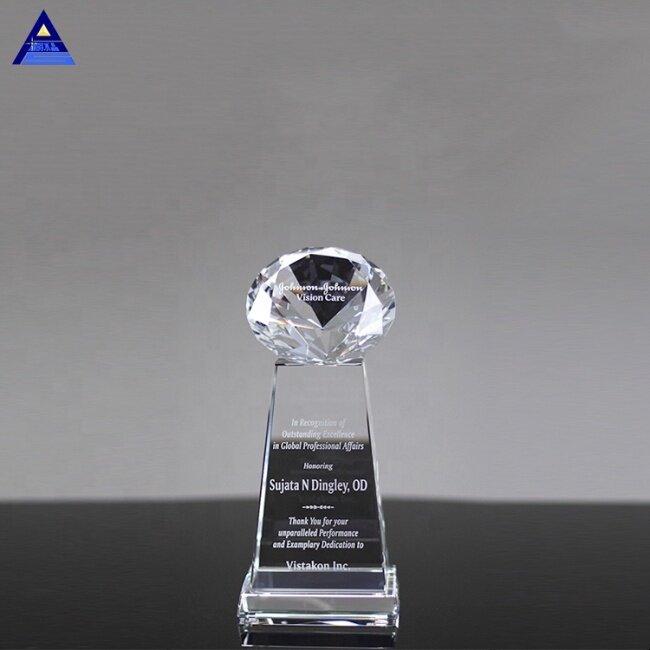 Custom Logo Sublimation Diamond Sphere Clear Crystal Awards