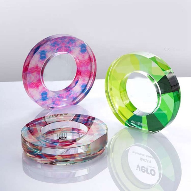 New Clear Customized Business Wedding Gift Round Circular Circle Crystal Award trophy crystal plaque