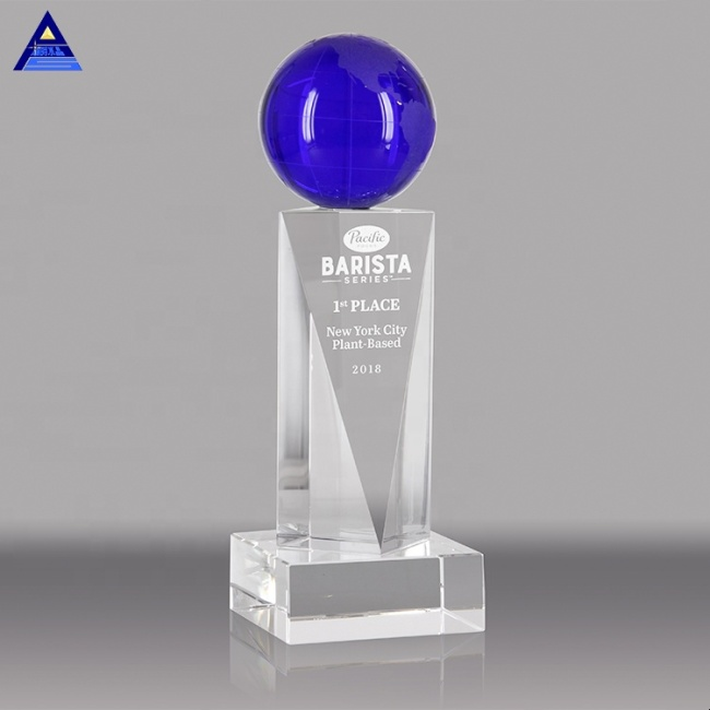 New Customized Blue Pillar World Globe Ball Crystal Award Trophy