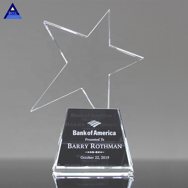 Wholesale Clear Optical Glass Trophy Crystal Meteor Star Award