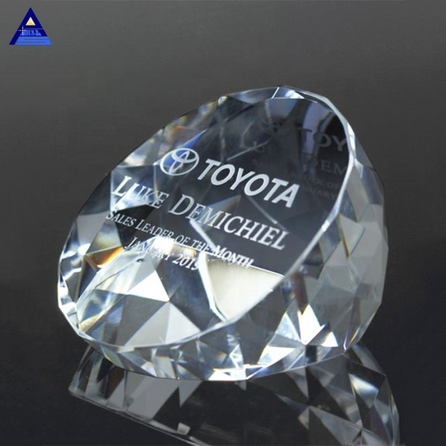 Handmade 3D Laser Etched Illuminate Slant Glass Crystal Paperweight