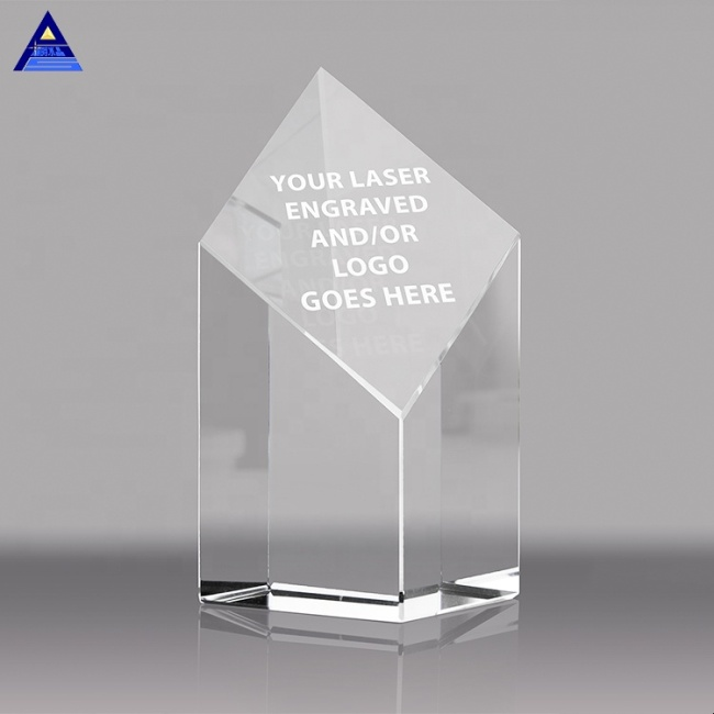 Personalized Blank Crystal Obelisk Glass Medal Trophy award For Souvenir