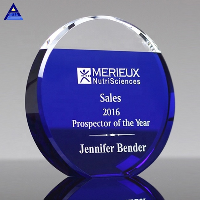 High Quality Professional Custom Blue Round Shape Larsmont Crystal Trophy Awards For Wholesale