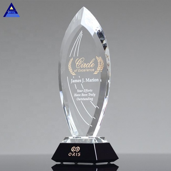 High Quality Custom Majestic Cut Flame Round Crystal Trophy For Laser Engraved