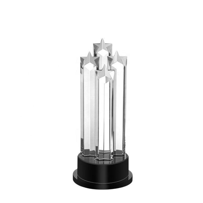 Wholesale cheap custom pentagram award blank crystal star glass crystal trophy