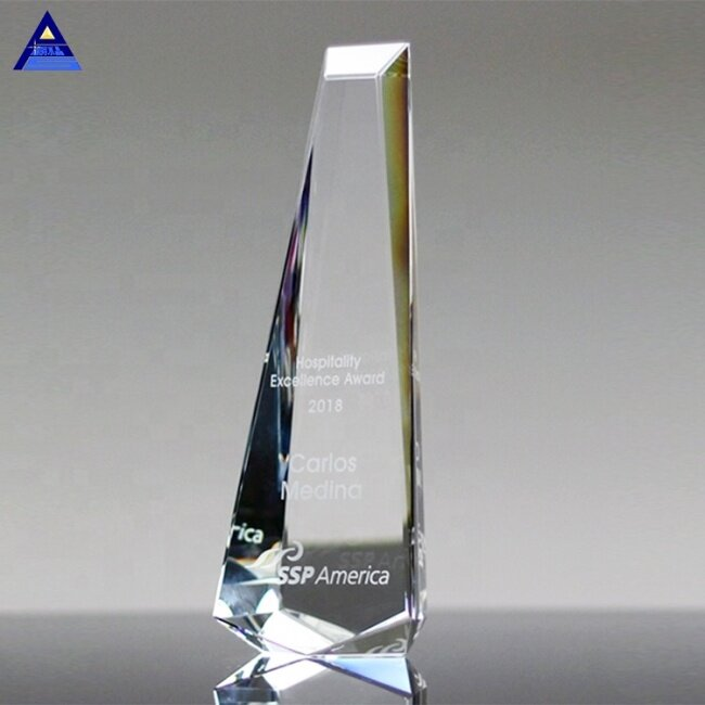 OEM Engraved Clear Gem Crystal Trophy for Corporate Business Awards