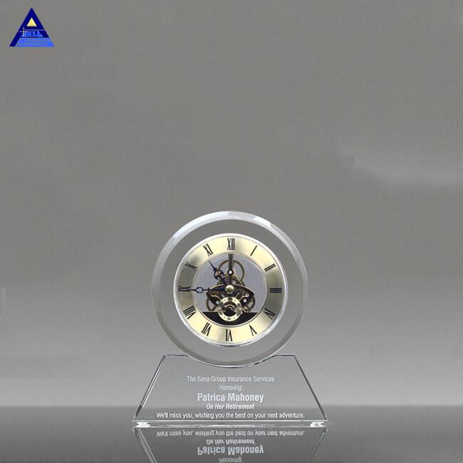 China Supplier New Design 3D Laser Engraving Crystal Desk Clock For Souvenir Gift