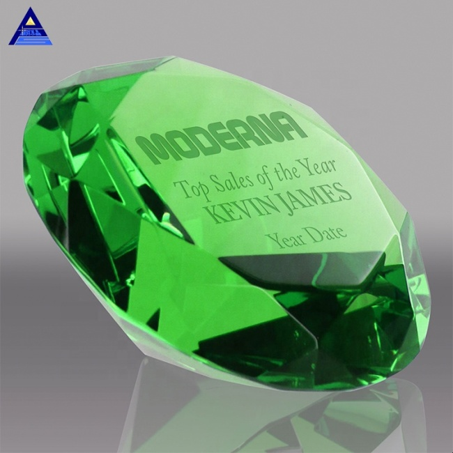 Machine Cut Green Glass Crystal Diamond Wedding