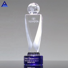 Engraved Optical Crystal World Globe Trophy for Traveler Tour Souvenirs