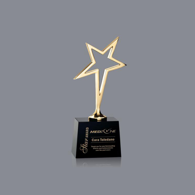 Hot Sale Wholesale Medal Crystal Star Shaped Award Hollow star trophy with black base
