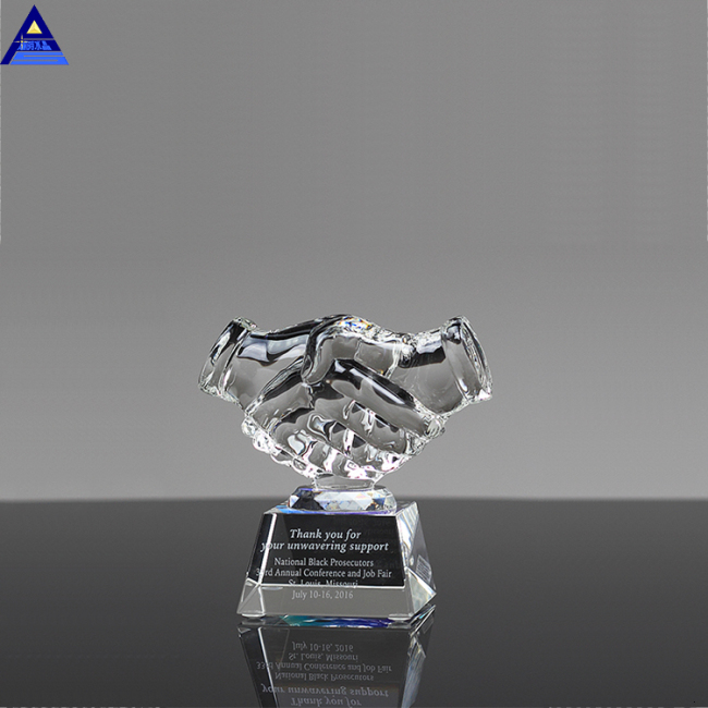 2019 Wholesale Directly Factory Hot Selling Handshake Blank Glass Award