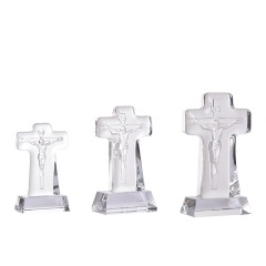Hot Sale Christian Gifts Crystal Cross Free Standing With Jesus Figurine Catholic Religious Gifts