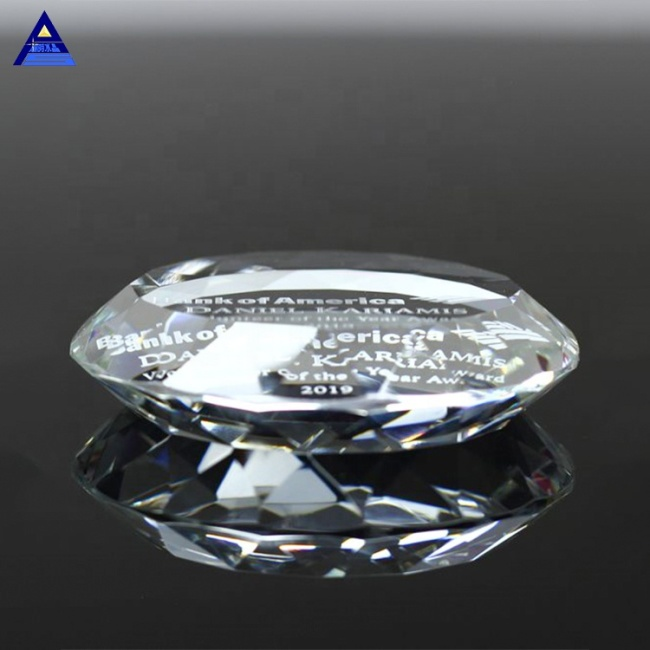 Hot Selling Personalized Multifaceted Crystal Round Paperweight