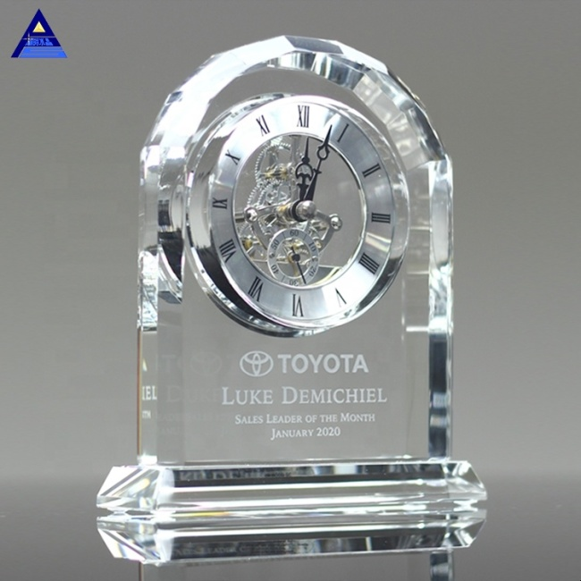 Wholesale Hot Sale New Fashion Round Shape Desktop Crystal Mini Clock For Souvenir