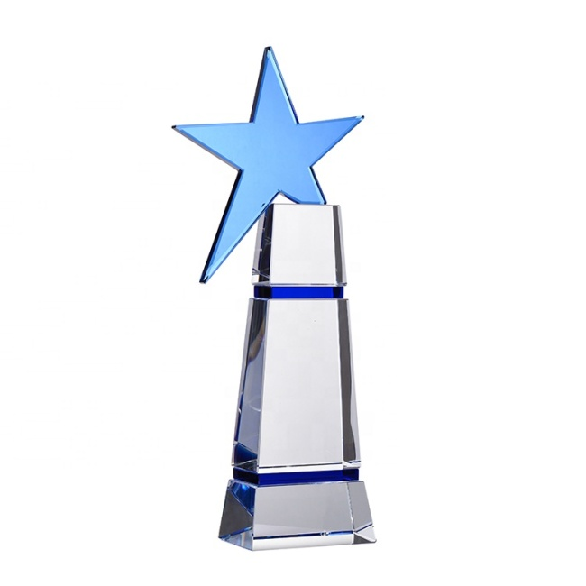 Hot Selling Unique Design Europe Feature Blank Star Crystal Trophy For Festival Film Souvenirs