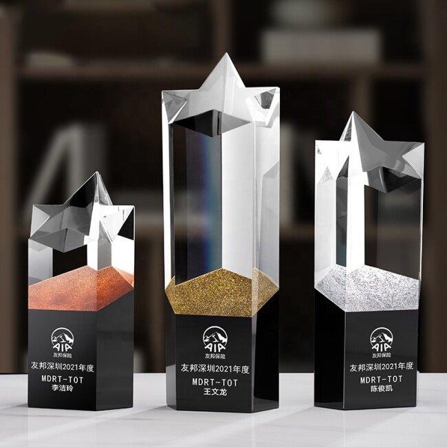 2021 New Design Crystal Trophy Star Crystal Gold Silver Copper Trophy Plaque Crystal Trophy Awards
