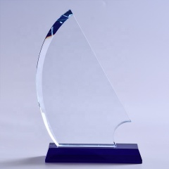 Wholesale Sailing Boat Shape Jade Glass Award Trophy For Sports Contest Souvenirs