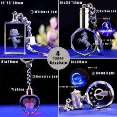 Wholesale Cheap Custom Car Logo 3d Laser Engraved Blank Heart Shape K9 Crystal Led Keychain for Crystal Gift Items