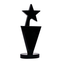 Hot Sale Simple Design Black Crystal Star Trophy Award For Corporation Souvenirs