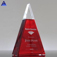 3D Laser K9 Exemplary Red Glass Crystal Pyramid Paperweight