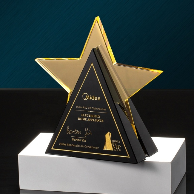 custom crystal awards glazed trophy star shape corporation awards