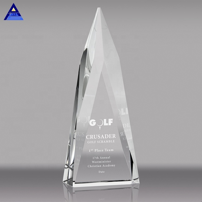 Cheap Custom 3D Laser Engrave Triangle Award Crystal Trophies For Souvenir Gifts