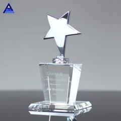 Custom High Grade Unique Design Glass Silver Star Crystal Award