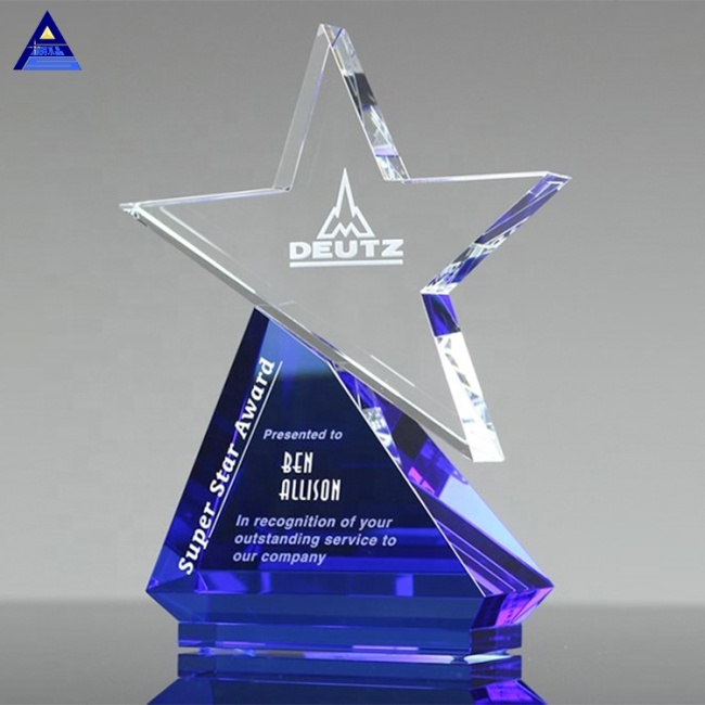 2020 New Design Blue Base Blank Custom Azure Crystal Star Award